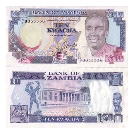 Billets de collection Billets banque Zambie Pk N° 31 - 10 Kwacha Billets de Zambie 2,00 €
