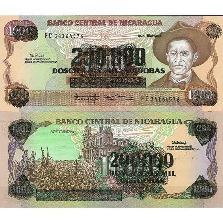 Billets de collection Nicaragua - Pk N° 162 - Billet de banque de 200000 sur 1000 Cordobas Billets du Nicaragua 4,00 €
