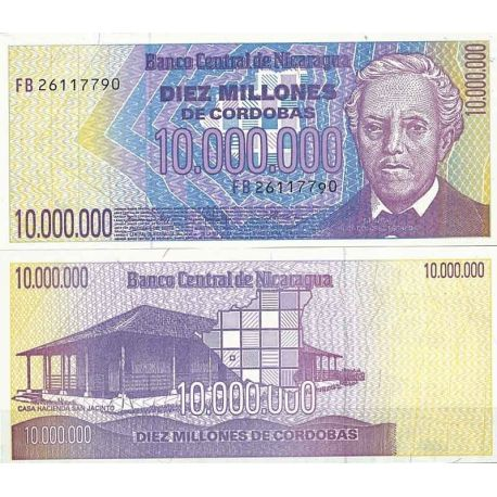 Billets de collection Nicaragua - Pk N° 166 - Billet de banque de 10000000 Cordobas Billets du Nicaragua 15,00 €