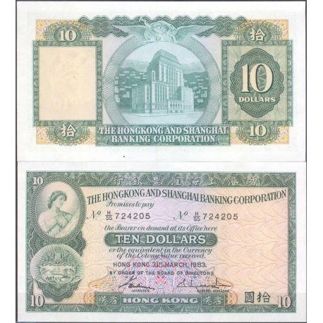 Hong Kong - Pk N° 182J - Billet de banque de 10 Dollars