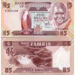 Billets de banque Zambie Pk N° 25 - 5 Kwacha
