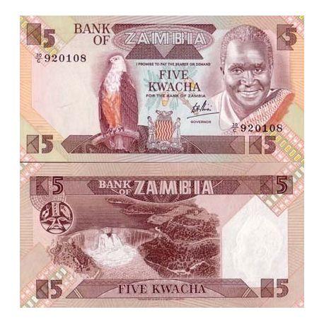 Billets de collection Billets de banque Zambie Pk N° 25 - 5 Kwacha Billets de Zambie 1,00 €
