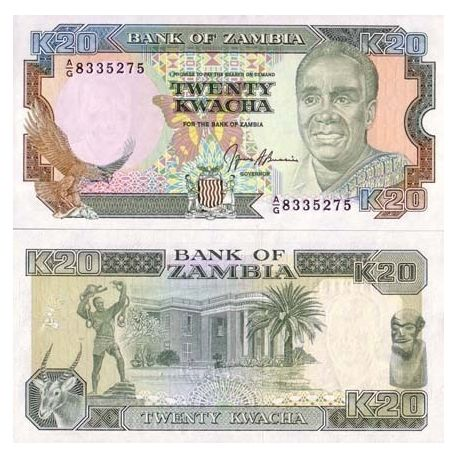 Billets de collection Billets banque Zambie Pk N° 32 - 20 Kwacha Billets de Zambie 1,50 €