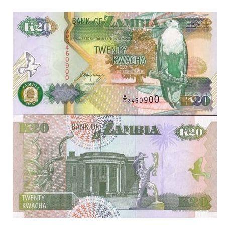 Billets de collection Billet de banque Zambie Pk N° 36 - 20 Kwacha Billets de Zambie 1,50 €