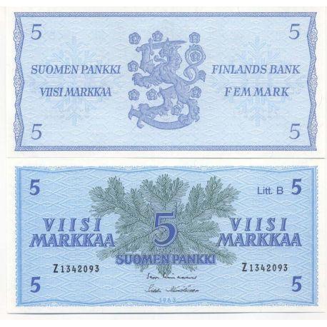 Billets de collection Finlande - Pk N° 106A - Billet de banque de 5 Markka Billets de Finlande 10,00 €