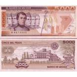 Collection of Banknote Mexique Pick number 88 - 5000 Peso