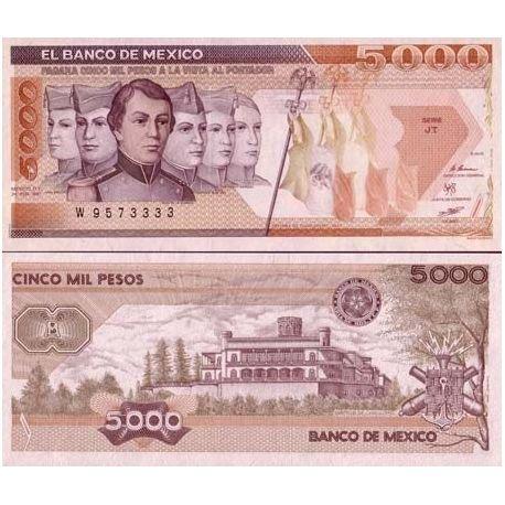 Mexique - Pk N° 88C - Billet de banque de 5000 Pesos