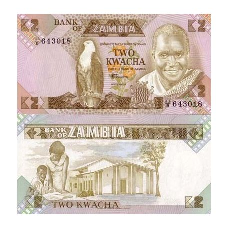 Billet de collection Zambie Pk N° 24 - 2 Kwacha