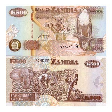 Zambie - Pk N° 39 - Billet de 500 Kwacha