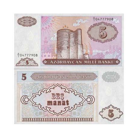 Billet de banque de 5 Manat - Billet de de collection Azerbaidjan - Pk N° 15