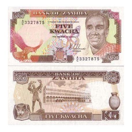 Billets de collection Billets banque Zambie Pk N° 30 - 5 Kwacha Billets de Zambie 3,00 €