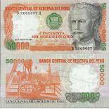 Billet de banque Perou Pk N° 125B - de 50 000 Soles