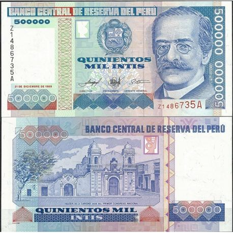 Billets de collection Billet de banque Perou Pk N° 147 - de 500000 Intis Billets du Perou 15,00 €