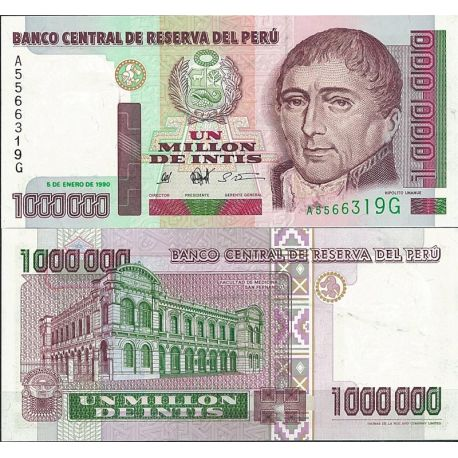 Billets de collection Billet de banque Perou Pk N° 148 - de 1 Million Intis Billets du Perou 24,00 €