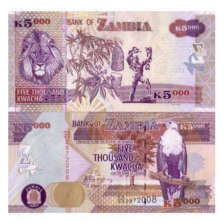 Billets de collection Billets de banque Zambie Pk N° 45 - 5000 Kwacha Billets de Zambie 6,00 €