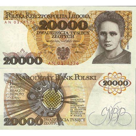 Billets de collection Billet de banque Pologne Pk N° 152 - de 20 000 Zlotych Billets de Pologne 17,00 €