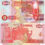 Colección de billetes Zambia Pick número 37 - 50 Kwacha