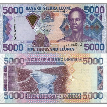 Billets de collection Billet de banque Sierra Leone Pk N° 28 - de 5000 Leones Billets de Sierra Leone 17,00 €