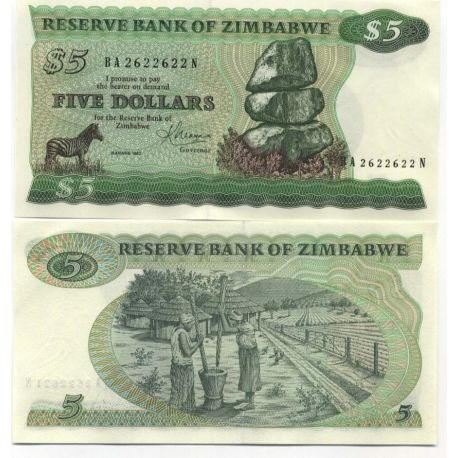 Billets collection Zimbabwe Pk N° 2 - 5 Dollars