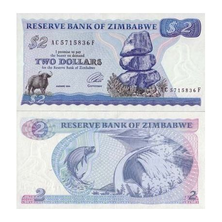 Billet de collection Zimbabwe Pk N° 1 - 2 Dollars