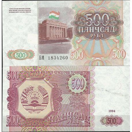 Billets de collection Billet de banque Tadjikistan Pk N° 8 - de 500 Rubles Billets du Tadjikistan 3,00 €