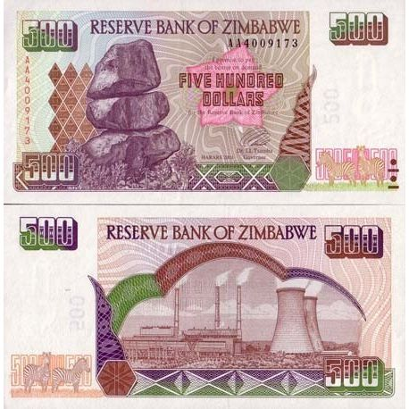 Billet de collection ZIMBABWE Pk N° 10 - 500 Dollars