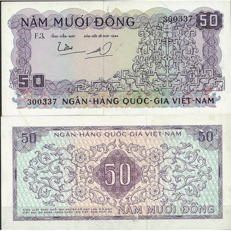 Billets de collection Billet de banque Vietnam Sud Pk N° 17 - de 50 Dong Billets du Vietnam Sud 28,00 €