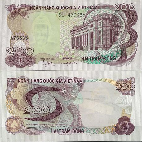 Billets de collection Billet de banque Vietnam Sud Pk N° 27 - de 200 Dong Billets du Vietnam Sud 22,00 €