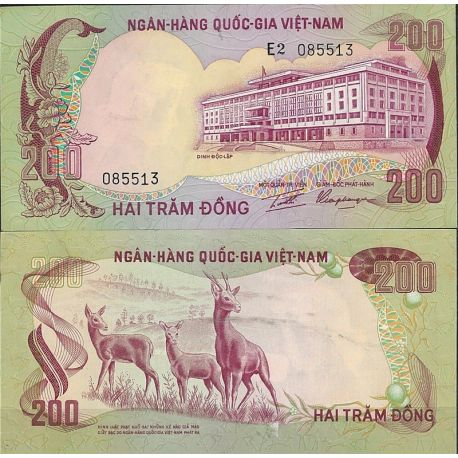 Billets de collection Billet de banque Vietnam Sud Pk N° 32 - de 200 Dong Billets du Vietnam Sud 22,00 €