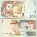 Precioso de billetes Albania Pick número 67 - 200 Lei 2001