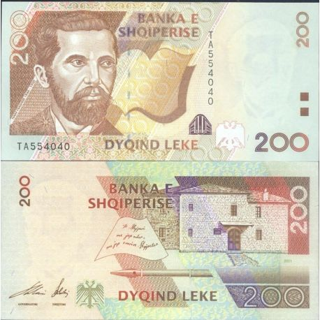 Billets de collection Albanie - Pk N° 67 - Billet de banque de 200 Leke Billets d'Albanie 9,00 €
