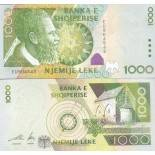 Precioso de billetes Albania Pick número 69 - 1000 Lei 2001