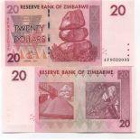 Billet de banque Zimbabwe Pk N° 68 - 20 Dollars