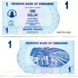 Colección Billetes Zimbabue Pick número 37 - 1 Dollar