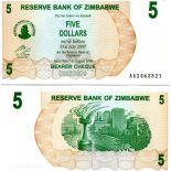 Precioso de billetes Zimbabue Pick número 38 - 5 Dollar