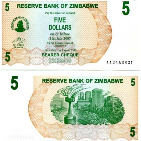 Billets collection Zimbabwe Pk N° 38 - 5 Dollars bearer