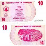 Banknoten Sammlung Zimbabwe Pick Nummer 39 - 10 Dollar