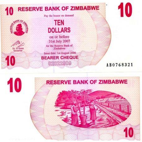 Billets banque Zimbabwe Pk N° 39 - 10 Dollars bearer