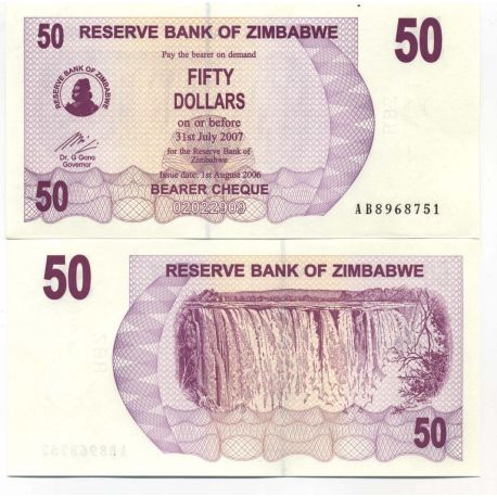 Billets collection Zimbabwe Pk N° 41 - 50 Dollars bearer