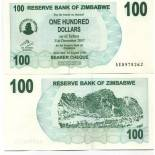 Los billetes de banco Zimbabue Pick número 42 - 100 Dollar