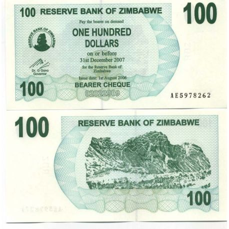 Billet de collection Zimbabwe Pk N° 42 - 100 Dollars bearer