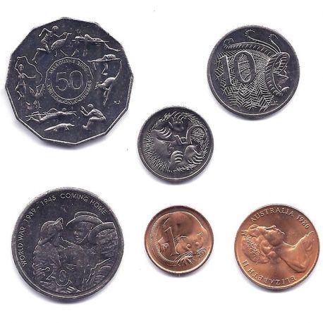 Australie - Série de 6 pièces différentes