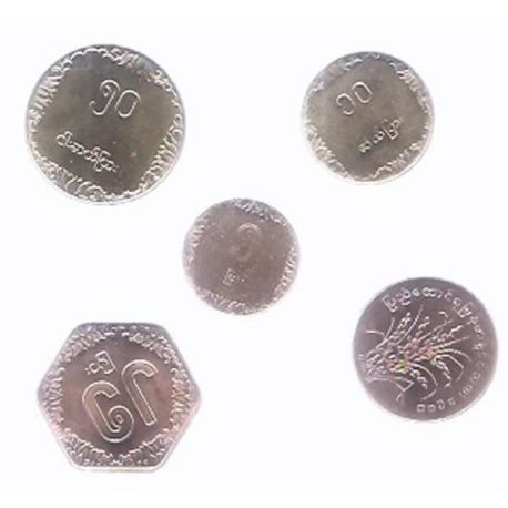 Birmanie - Série de 5 pièces différentes