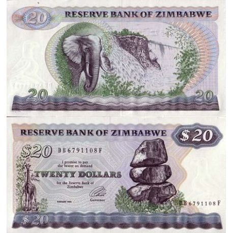 ZIMBABWE - Pk N° 4 - Billet de 20 Dollars