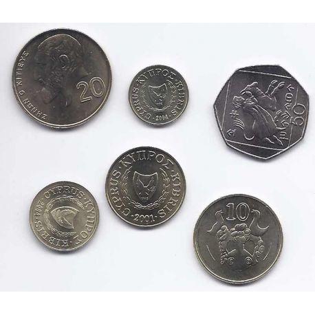 Chypre - Série de 6 pièces différentes