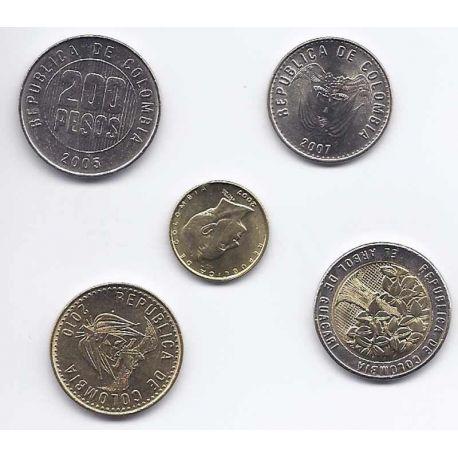 Colombie - Série de 5 pièces différentes