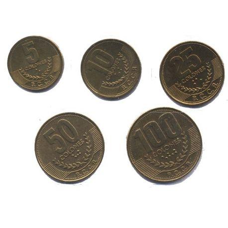 Costa Rica - Série de 5 pièces différentes