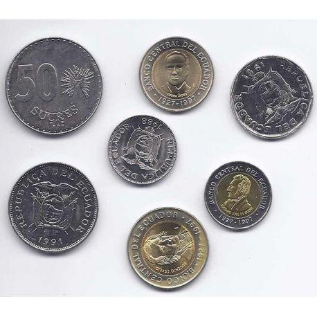 Equateur - Série de 7 pièces différentes