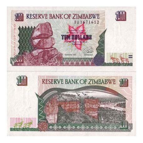 Billets de banque Zimbabwe Pk N° 6 - 10 Dollars