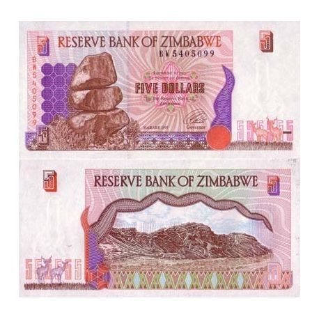 Billets collection Zimbabwe Pk N° 5 - 5 Dollars